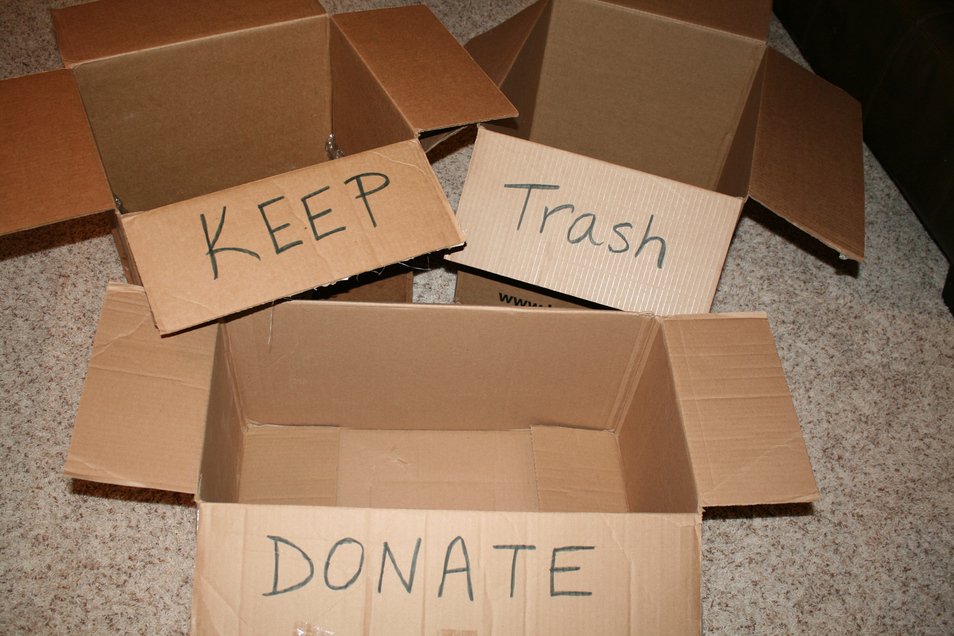 Develop A System For Moving Items Into KEEP, TRASH/RECYCLE And DONATE  Boxes/piles