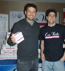 Jermey Sisto of Suburgatory and Eco Nuts owner Scott Shields of Pirates of the Caribbean at the Golden Globes Boom Boom Room celebrity baby gifting suite.