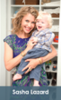Sasha Lazard pictured with her son in front of his new closet organizer system.