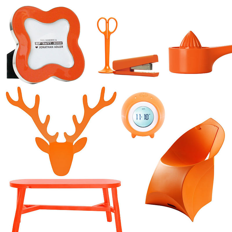 Furniture And Accessories In Tangerine Tango Include Clockwise From Top Left Enamel Clover Frame By Jonathan Adler Anything Office
