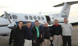 Tim Goad, Barry Clarkson, Andy Albright, John Haver, Jim Henson and Brent Bench at the Burlington, N.C. airport on Jan. 17, 2012