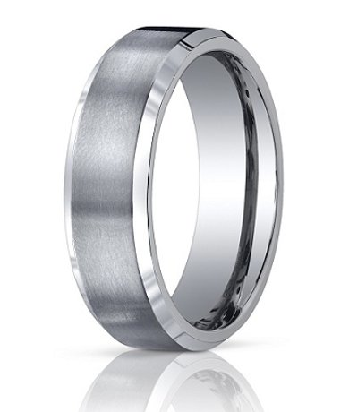 Mens Designer Titanium Wedding Band with Polished Beveled Edges