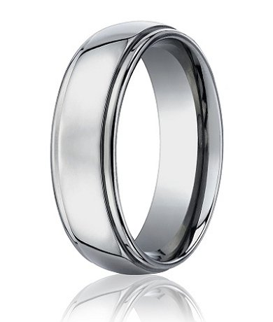 mens designer titanium wedding band with polished finish