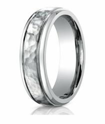Mens Designer Hammered Titanium Ring with Polished Edges