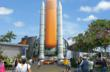 entrance of the $100 million exhibit will be a full-size replica of a shuttle's external tank and two solid rocket boosters.