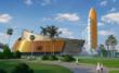 "The exterior of the exhibit will incorporate two sweeping ""wings"" to represent the shuttle's launch and return. The orange and gold hues stand for the glow of re-entry, and the taller wing's gray tile"