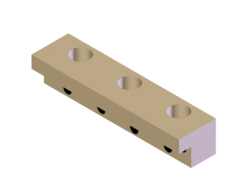 L-gib made of solid aluminum bronze with self-lubricating graphite and drilled mounting holes.