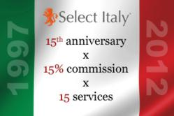 Select Italy 15 year anniversary promotion