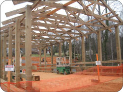 Construction of the covered bridge Deacons Station has begun.