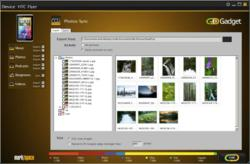 Screenshot of the photos import/export window of GoGadget