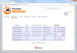 FileCatalyst Webmail Screenshot