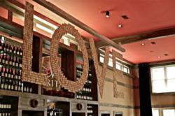"""LOVE Artwork in """"cork"""" at Veritas Vineyard"""