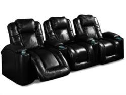 InteriorMark Aspen Home Theater Seating Row of 3 in Black Leather