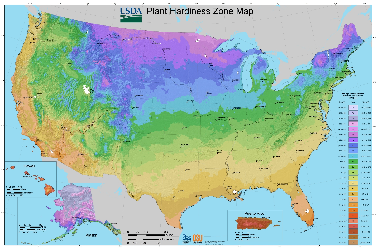 Us dept of agriculture new hardiness zones show impact of global warming for What garden zone am i