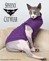 """Zizzles channels Victoria Beckham in """"The Grape Jellybean"""" from Sphynx Cat Wear.  Photo: Christopher Voelker © 2012"""