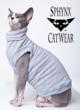 "Strike a pose-Zizzles represents Sphynx boobs worldwide in the ""Duffle"" by Sphynx Cat Wear.  Photo: Christoper Voelker © 2012"