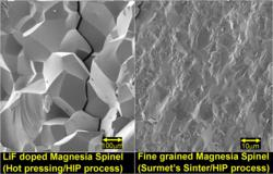 SEM micrographs comparing LiF doped Magnesia Spinel (left) that has large and weak grain boundaries with Surmet's fine grained high strength Magnesia Spinel.