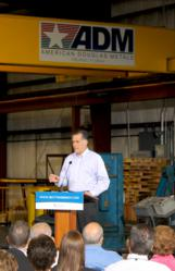 Speaking at American Douglas Metals, Mitt Romney shares his thoughts at the company's headquarters in Orlando, FL.