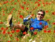 cyclist in the poppies, Andalusia, Spain