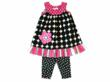 Class Color Combos Hot Pink & Black Geometric Capri Set by Mis-TEE-V-Us for Blueturtlekids.com