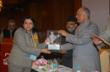 Suma Rao receiving the award from Honorable Mr. K. C. Pant, former Defence Minister