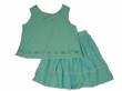 PASTEL Power Blue Crinkled Cotton Ruffled Skirt Set with Embellished Tank Top by Cotton Kids for Blueturtlekids.com