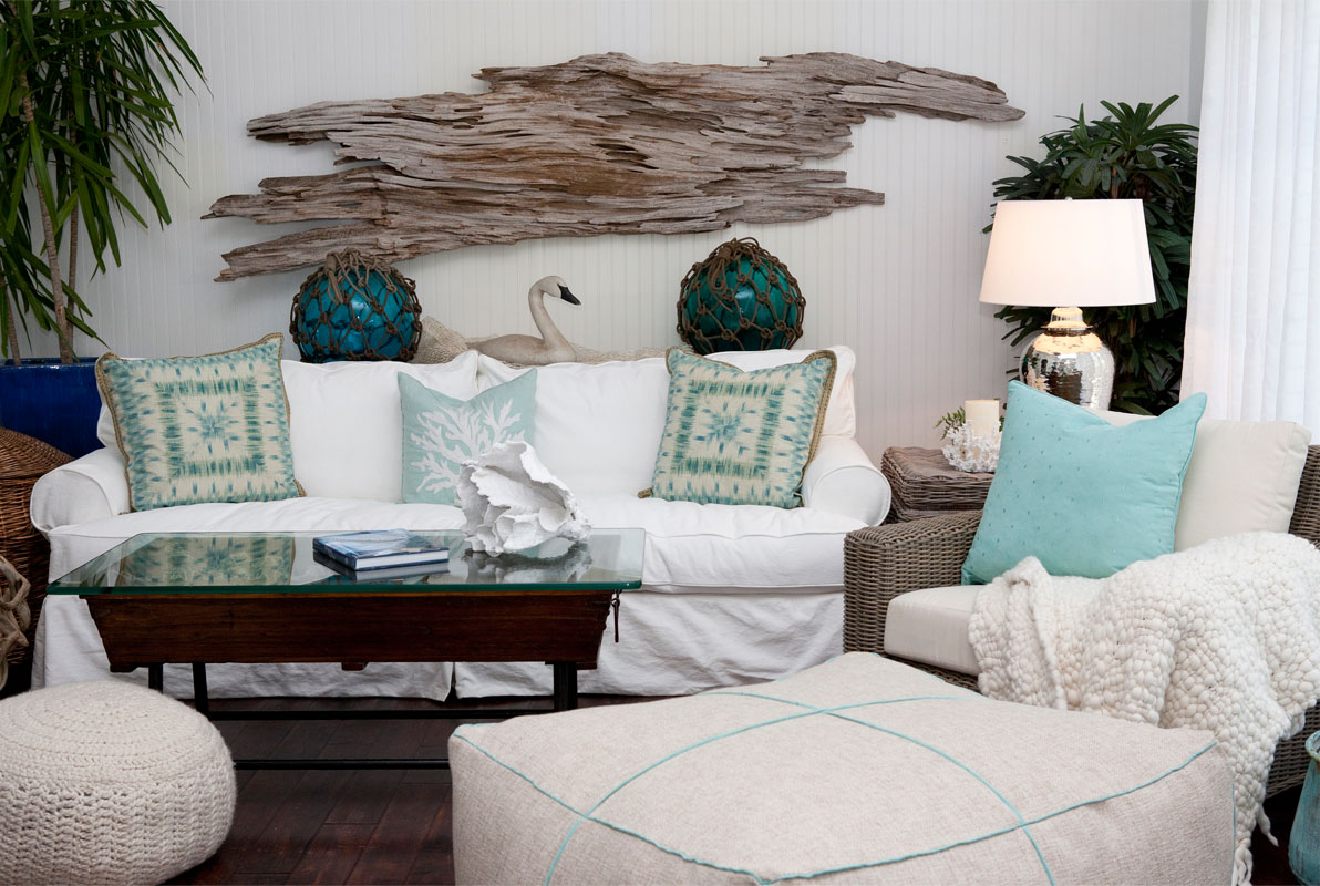 Slipcovered Sofa Made In The Usaslipcovered Sofa In White With Coastal Seafoam Green Home Accents