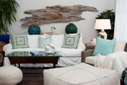 slipcovered sofa in white with coastal seafoam green accents
