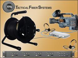 Tactical Fiber Systems value priced optical fiber solutions for video production including fiber optic camera converter / transceivers, tactical fiber, and quad-input base module transceiver with 2 way intercom.