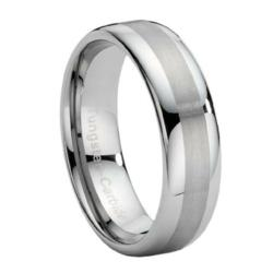 Tungsten Wedding Band with Dual Finish