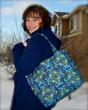 quilted, tote, handmade, GBK Oscar Gift Lounge, hollywood, blue, gold, The Artisan Group