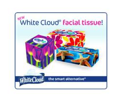 White Cloud facial tissue is now available at Walmart stores in select markets.