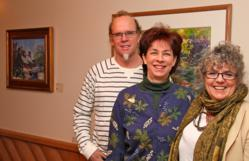 Sue Smith, Director of Cultural Resources and Development for the Palisades Interstate Park Commission, with Bruce Thorne (left), Chairman of Exhibits and Events and Lita Thorne (right), President and founder of Artists in the Parks at the new AIP Gallery
