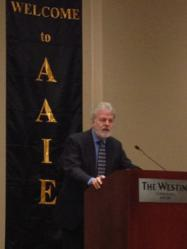 Dr. Richard Spradling giving acceptance speech after receiving AAIE's 2012 International Superintendent of the Year Award.