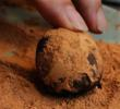 Coffee-laced truffles are finished with unsweetened cocoa powder. Photo by Ric Ernst. (Photo for web.)