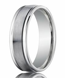 Comfort-Fit Palladium Wedding Band with Spun Satin Finish