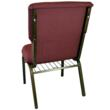 Back view with book rack:  New CMW-series Discount Church Chair from Classroom Essentials Online.