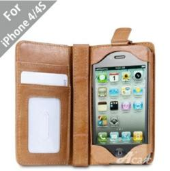 Acase(TM) Rider Genuine Leather Wallet Case for iPhonr 4/4S