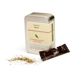 Tin of tsp spices organic dried basil. Contains 12 one-teaspoon packets.