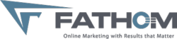 Fathom logo plus tagline: Online marketing with results that matter.