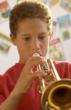 A CUSD Music Student Playing A Yamaha Trumpet Rental From Tim's OC Music In Laguna Niguel, Even Though His Mom Wanted Him To Get A Violin Rental