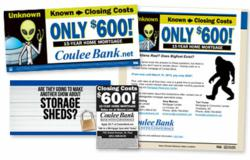 Coulee bank, tv commercial, print ad, e-mail marketing, billboard, the blu group, closing costs special offer, home mortgage special offer, bigfoot, aliens, storage wars, advertising, marketing