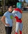 Napoleon Dynamite's Efren Ramirez channeled his inner eco-superhero powers on the beach in Santa Monica with Captain Planet.