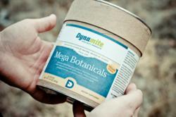 """Mega Botanicals """"green drink"""" shows new logo."""