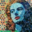 Casablanca Movie inspires fine art portrait of a woman; created from Junk Mail by Sandhi Schimmel Gold