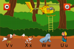 Help Bingzy save his friends from the fire. Place his friends on the ladder in alphabetical order.