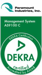 Paramount certified AS9100C by DEKRA