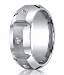 Benchmark Cobalt Band with 3 Burnish Set Diamonds