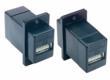 USB 2.0 ECF-style panel-mount coupler, black, Type A to Type A jacks