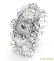 18K White Gold Diamond Watch with 223 Colorless Diamonds (color range D-E-F) (clarity range SI2-F). Diamonds total weight = 106.93 carats. Watch total weight = 108.90 grams.